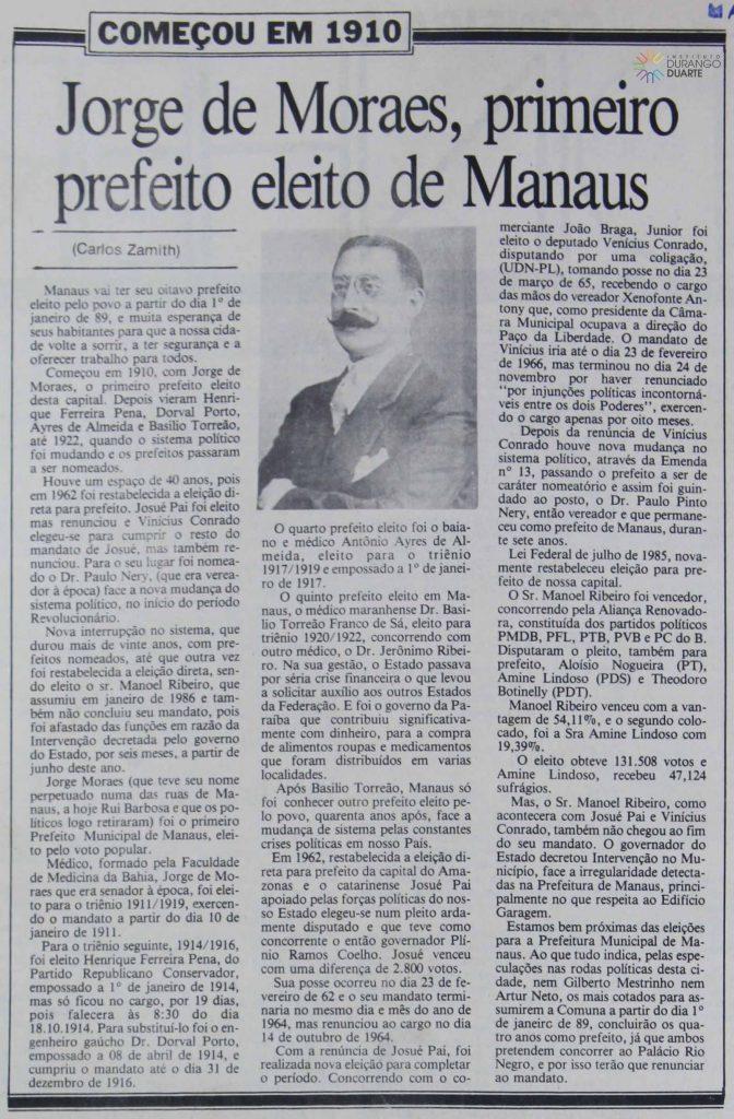 Jorge de Moraes, primeiro prefeito eleito de Manaus
