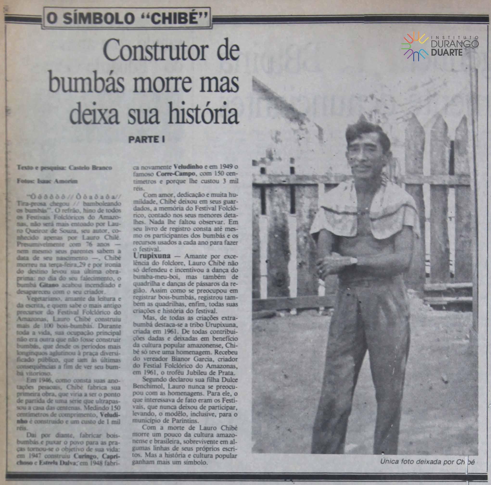 Morre o construtor de bumbás Lauro Chibé