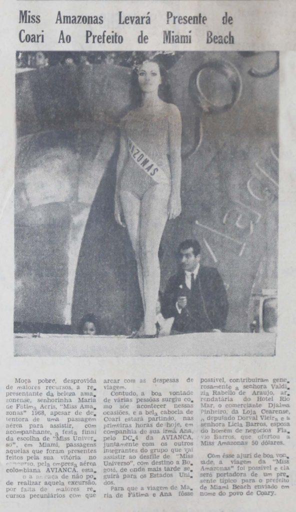 Maria de Fátima Acris: Miss Amazonas 1968