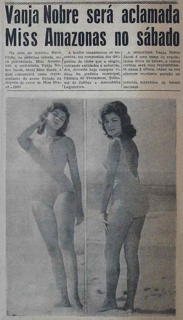 Vanja Nobre Jacob, a Miss Amazonas de 1960