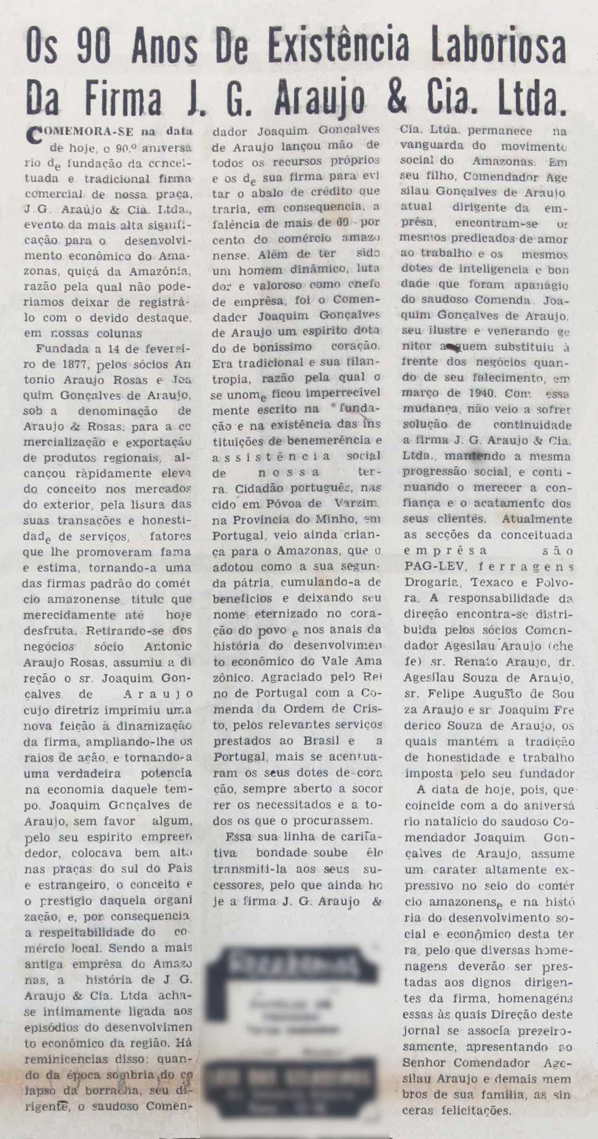 Comemoração dos 90 anos da J.G. Araújo e Cia