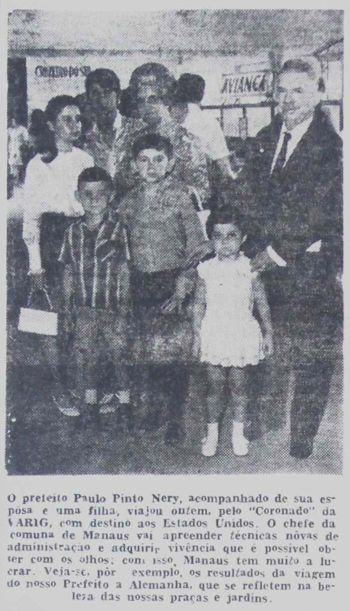 Paulo Pinto Nery em viagem com a família - Instituto Durango Duarte 1968