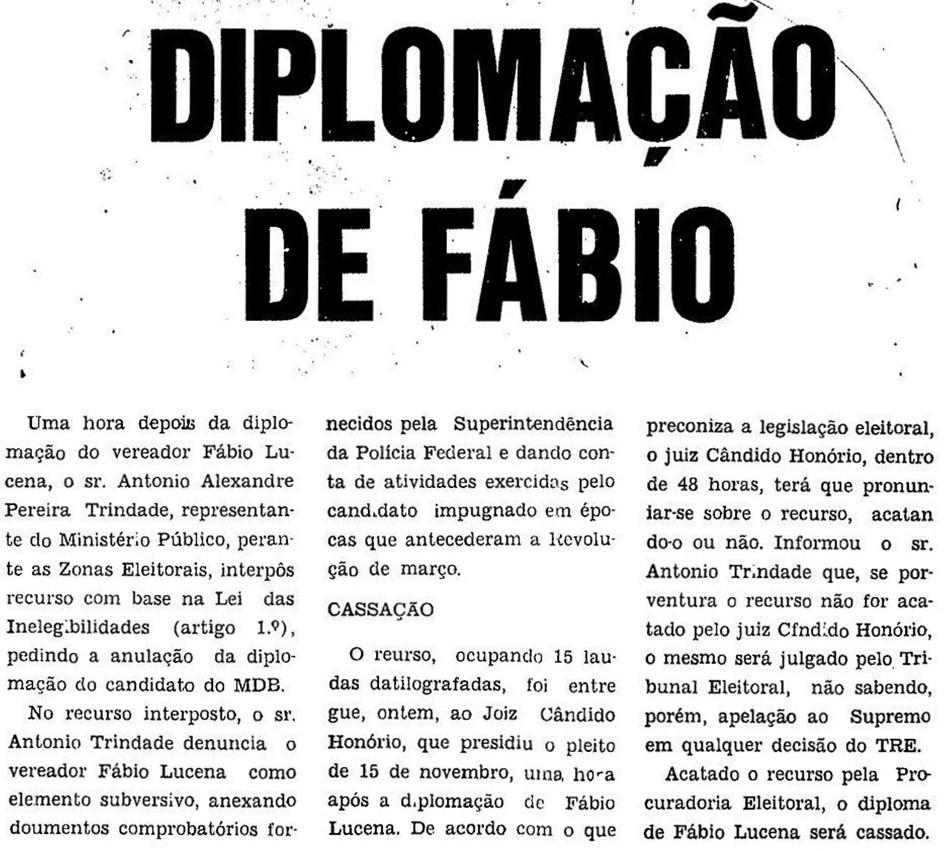 Recurso contra diplomação do candidato Fábio Lucena