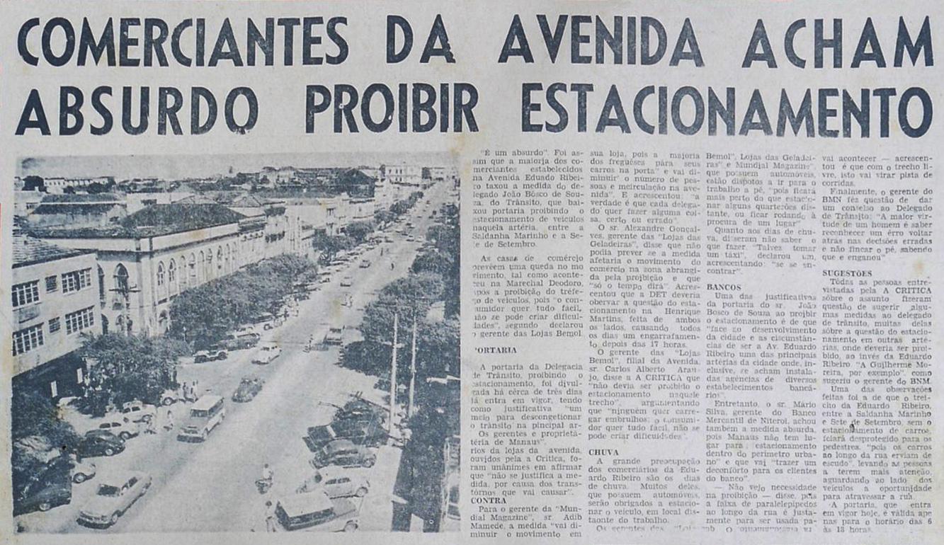 Proibido estacionar na avenida Eduardo Ribeiro