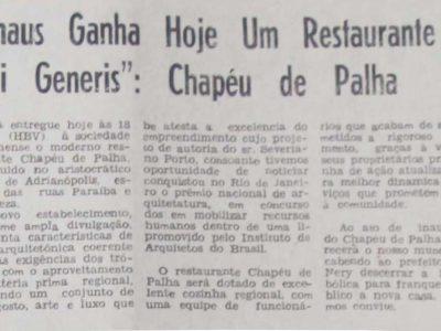 Inauguração do Restaurante Chapéu de Palha
