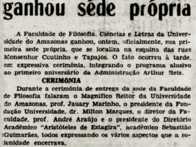 Inauguração da Sede da Faculdade de Filosofia