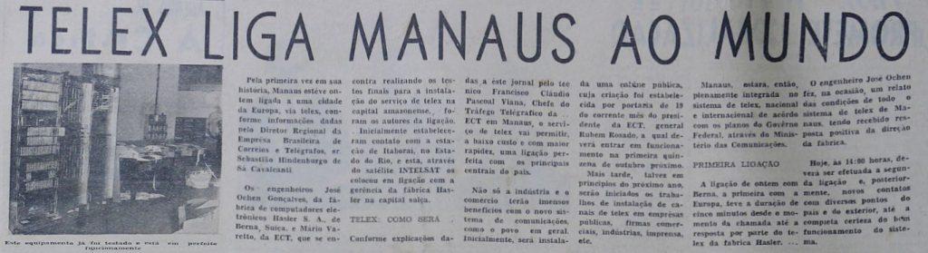 Instituto Durango Duarte - Serviço de Telex em Manaus