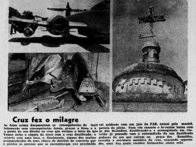 Torre da Igreja dos Remédios é atingida por avião